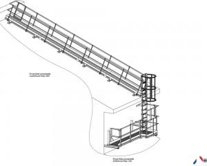 Plan : passerelle et échelle a crinoline