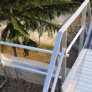Barandilla recta autoportante, Escalera de crinolina, Pasarela